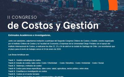 II Congreso del Instituto Chileno de Costos: extensión de plazo