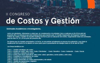II Congresso Chileno de Custos e Gestão: 9, 10 e 11 de dezembro de 2020