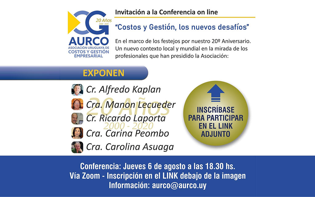 Conferência on-line: custos e gestão, os novos desafios (AURCO, 20 anos, 6/8)