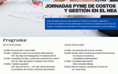 IAPUCO: Jornadas Pyme de Costos y Gestión en el NEA (29 y 30 de octubre)